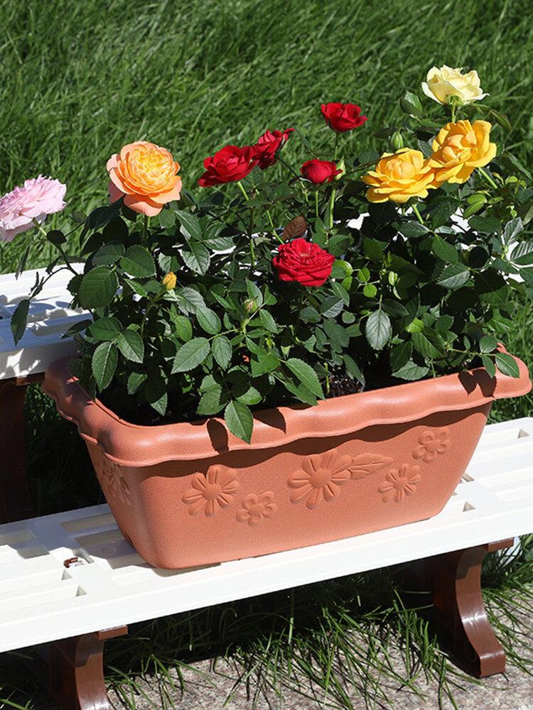 Vaso de flores de resina em relevo, decoração de jardim, vaso de flores de plástico, varanda, vaso de flores