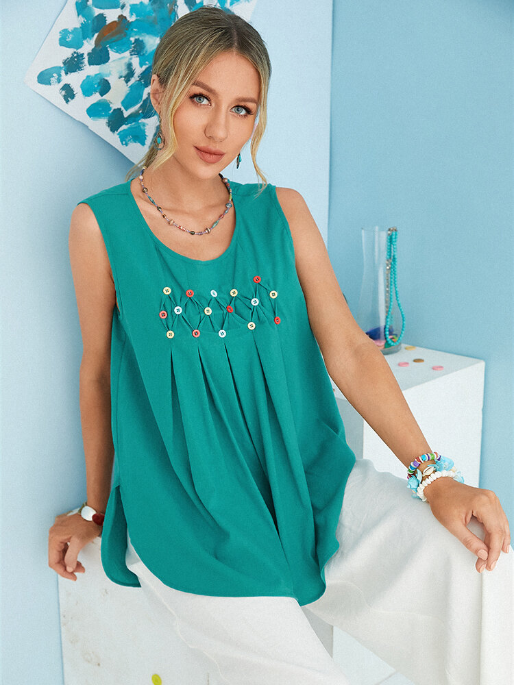 Pleated Buttons Sleeveless O-neck Casual Tank Tops