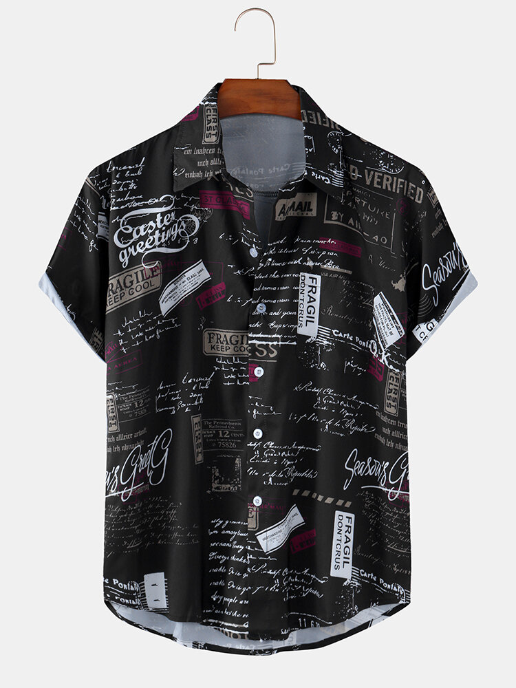 Men Vintage Pictorial Letter Printed Beach Casual Shirt