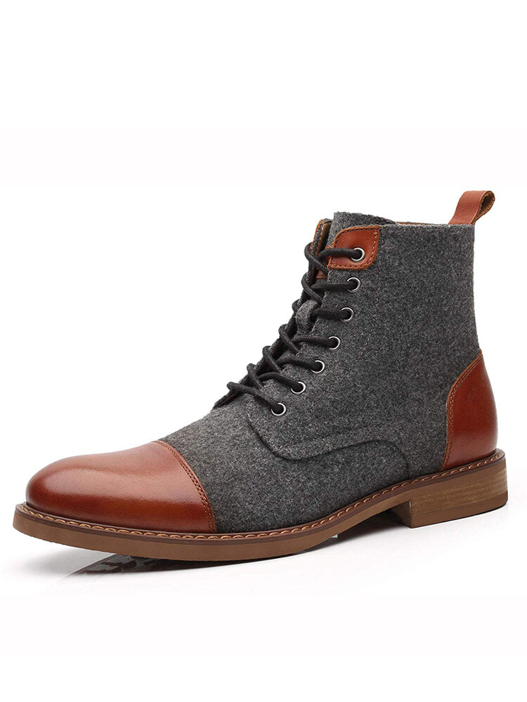 Men British Style Cap Toe Comfy Work Style Ankle Boots