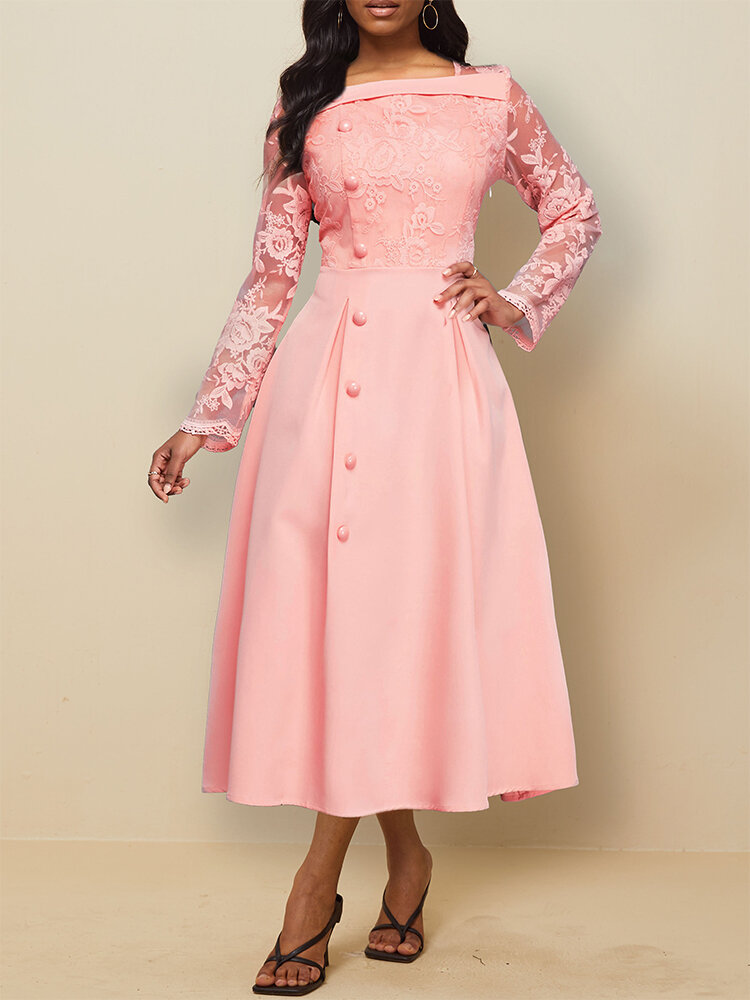 Floral Patch Lace Stiching Long Sleeve Big Swing Dress