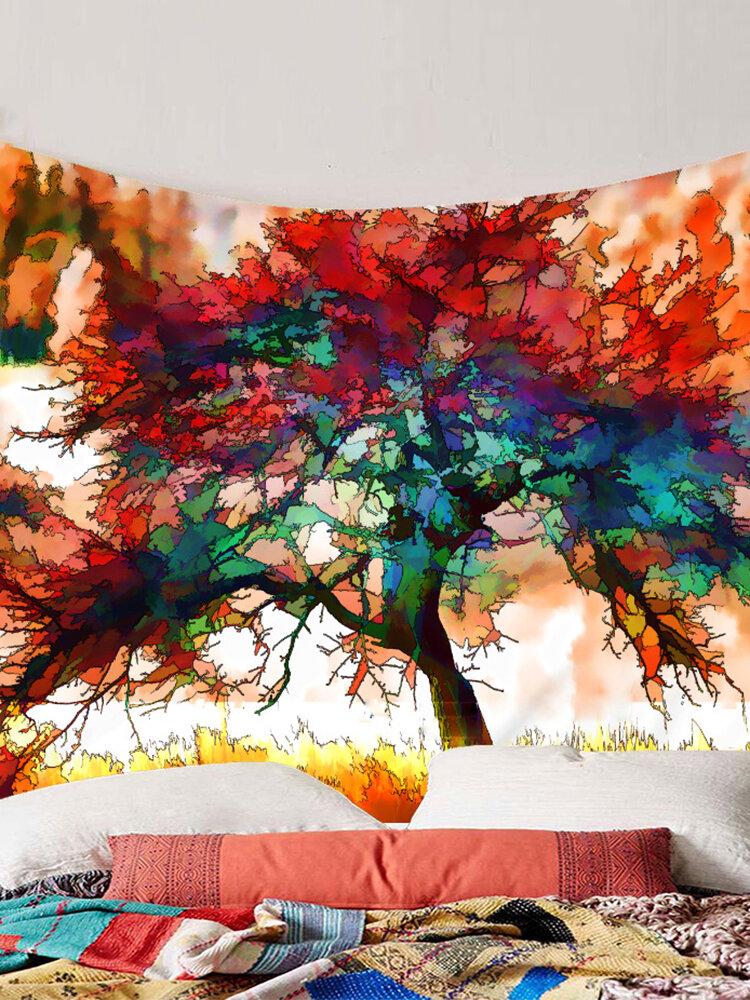 Акварельная живопись Colorful Дерево, настенный гобелен, домашний декоративный гобелен, Yoga Пляжный, полотенца