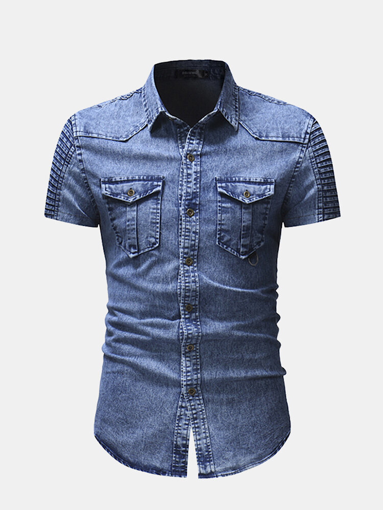 Mens Metal Texture Button Fold Short Sleeve Pure Color Shirts With Two Pockets