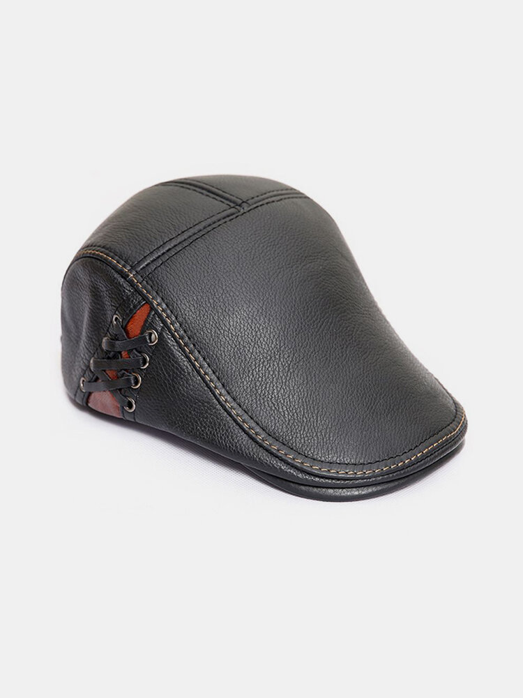Mens High Quality Genuine Cowhide Lace-up Beret Caps Casual Warm Windproof Forword Hats