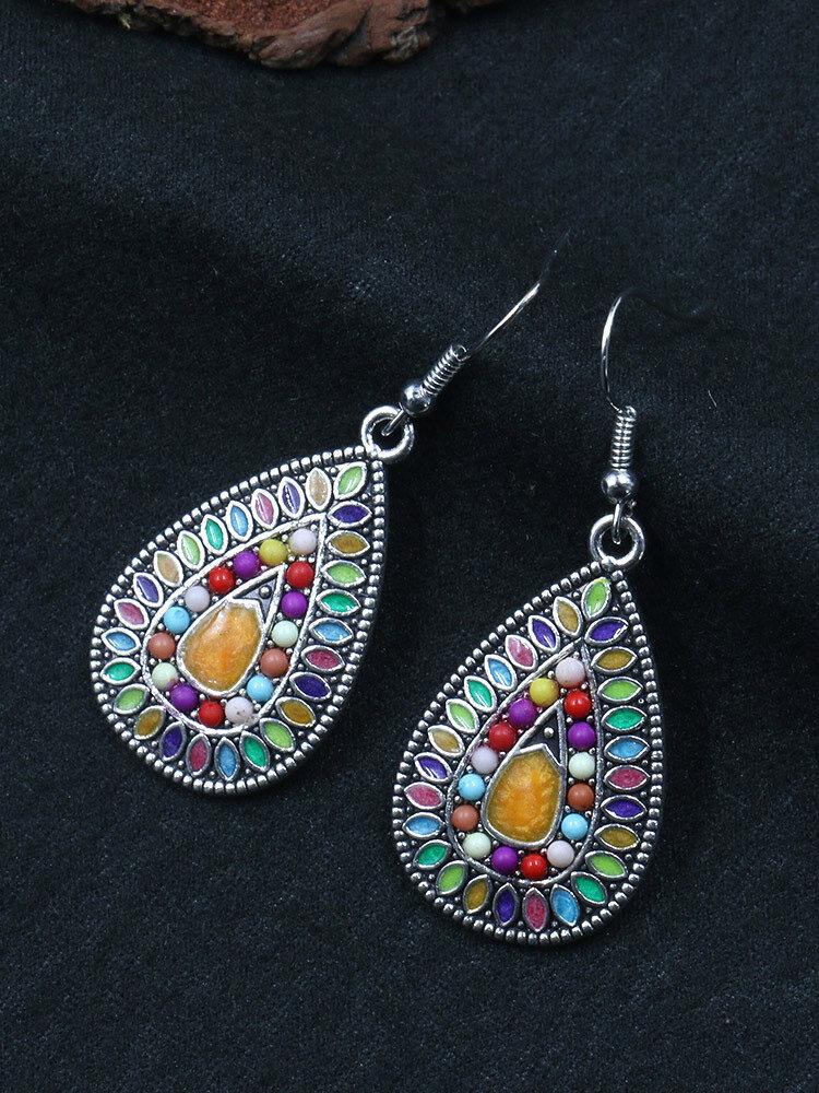 Bohemian Colorful Flower Earrings Long Style Water Drop Rhinestone Earrings For Women