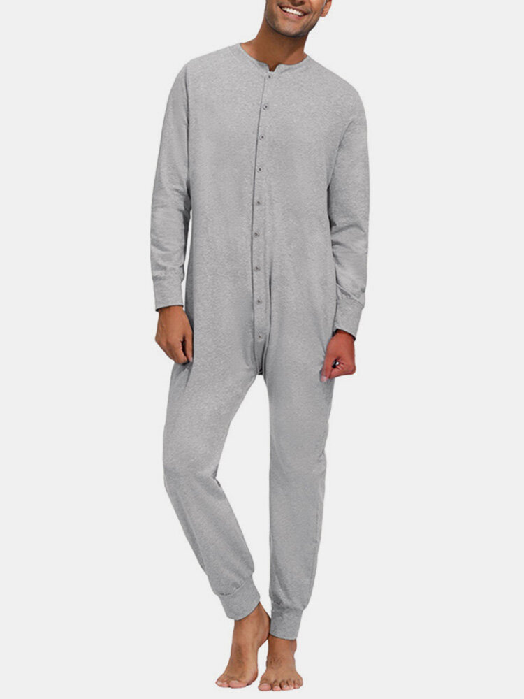 Pure Color Casual Thin Soft Home Long Sleeve O-Neck Button Jumpsuit Onesies For Men