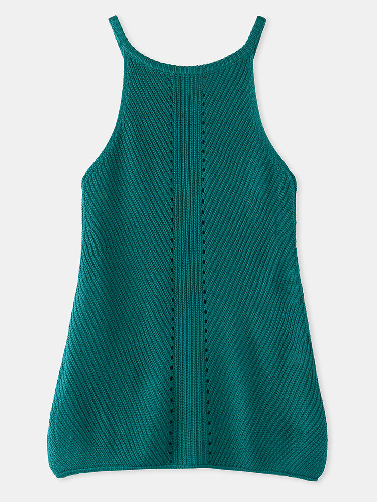 Solid Color Knitted Hollow O-neck Sleeveless Women Cami