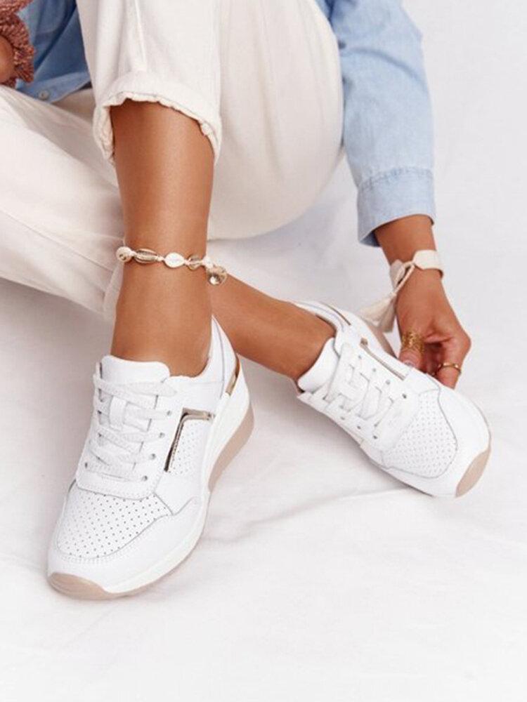 Zapatos para caminar con cordones internos transpirables de gran tamaño para mujer