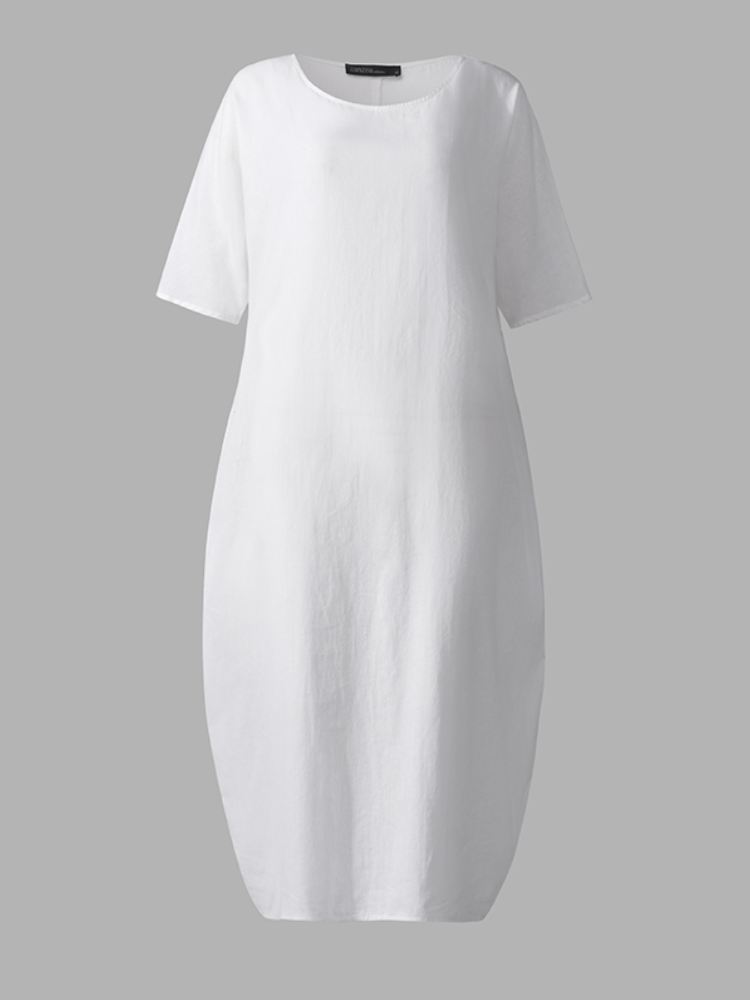 Casual O-neck Short Sleeve Plus Size Loose Dress for Women