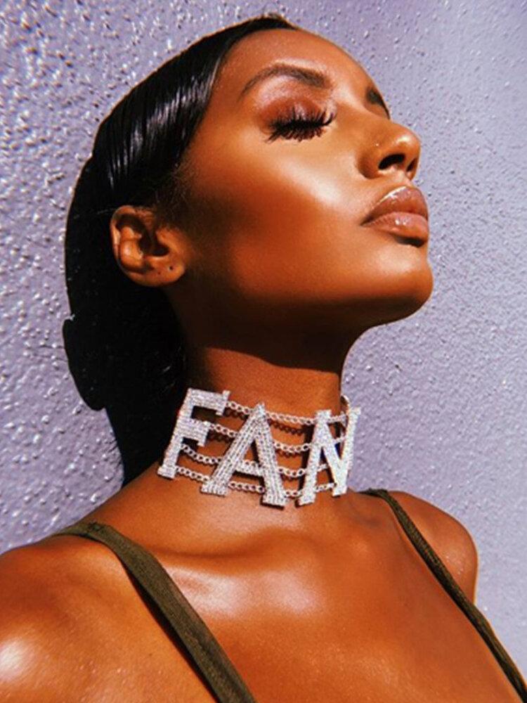 Trendy Exaggeration Full Rhinestone Letter-shape Alloy Necklaces