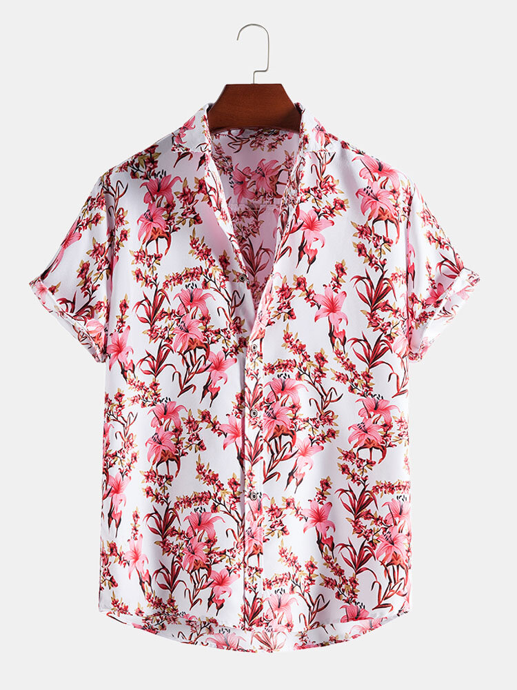 Mens Floral Plant Print Button Up Holiday Short Sleeve Shirts