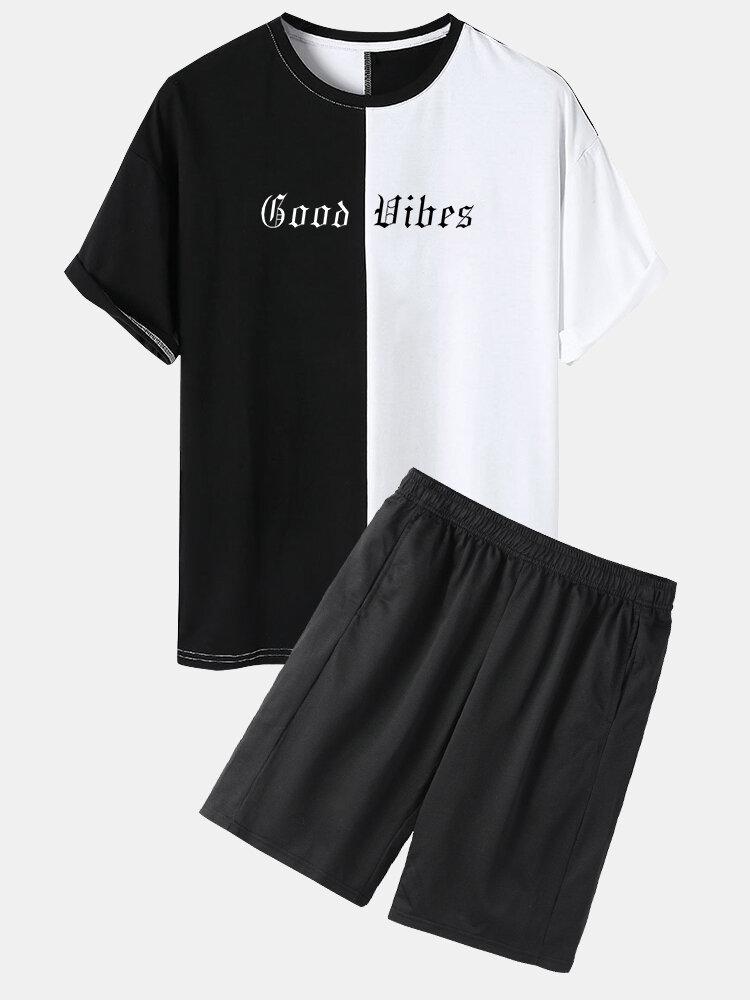 Mens Letter Print 100% Cotton Patchwork Elastic Waist Two Piece Outfits