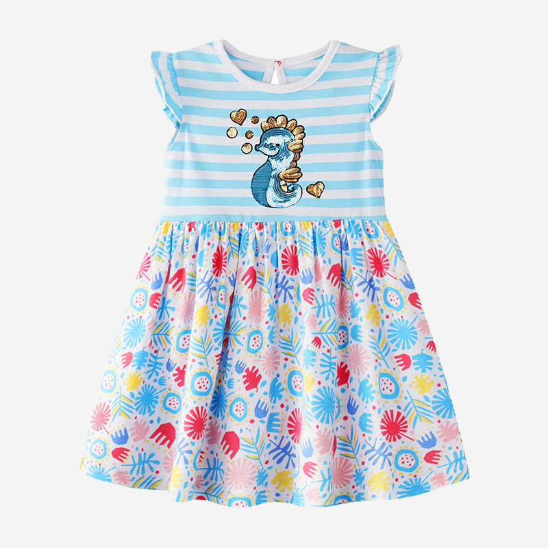 Girl's Sea Horse Blue Striped Floral Print Flying Sleeves Casual Dress For 2-8Y