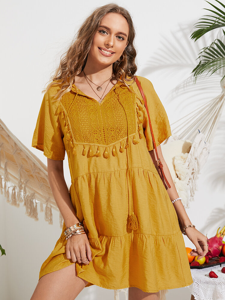 Knotted Tassel Short Sleeve Lace Holiday Dress for Women