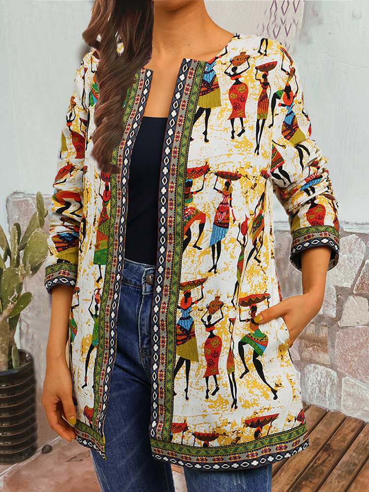 Vintage Print Webbing Patchwork Plus Size Jackets with Pockets