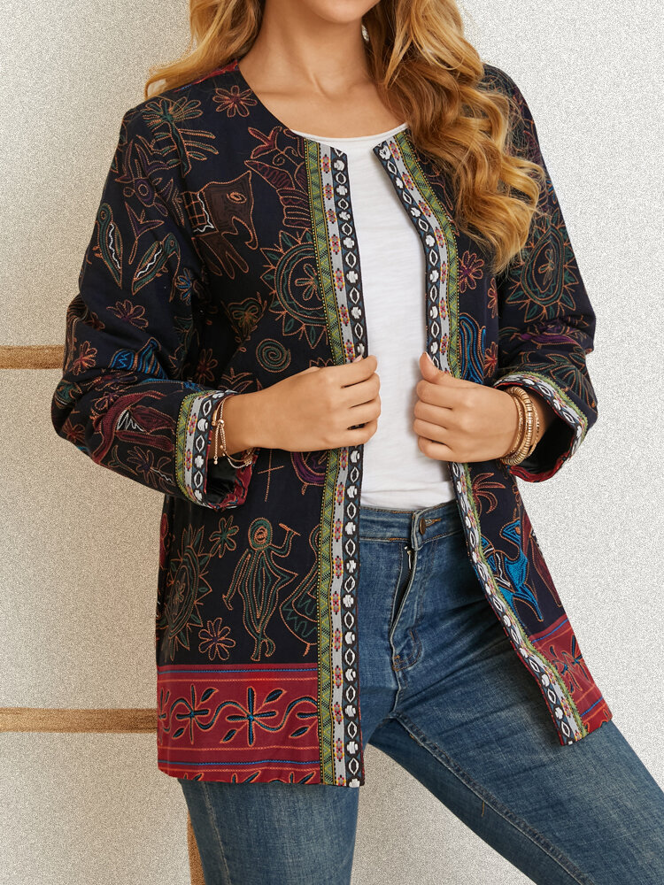 Ethnic Print O-neck Long Sleeve Plus Size Jackets for Women