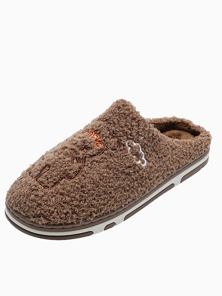 Men Bear Pattern Winter Warm Lined Comfy Slip Resistant Slip On Cotton Home Slippers