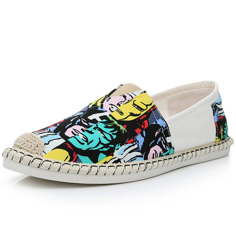 Men Old Peking Fabric Colorful Slip On Soft Casual Shoes