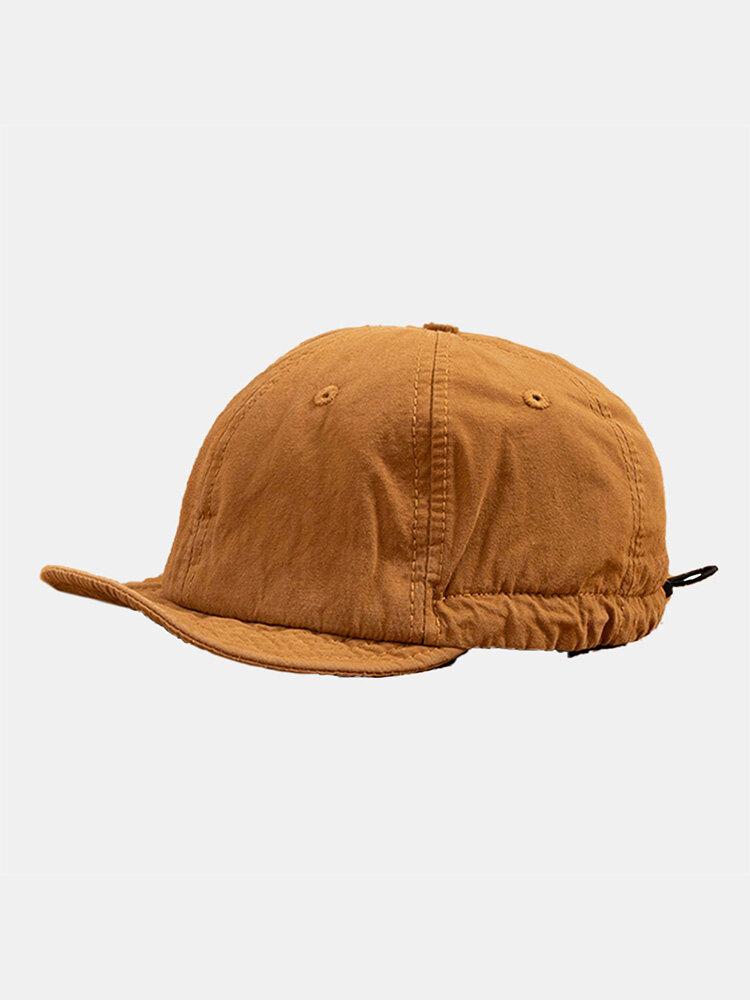 Unisex Cotton Solid Color Soft Short Brim Drawstring Fashion Baseball Caps
