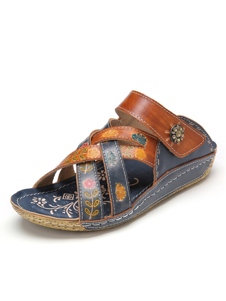 SOCOFY Retro Leather Painted Embossed Floral Slip-On Flat Slides Wedge Sandals