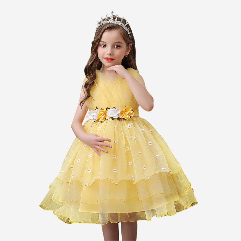Flower Toddlers Girls Sleeveless Pageant Princess Party Wedding Tulle Dress For 3-11Y
