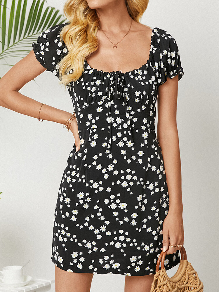 Daisy Print Square Collar Short Sleeve Knotted Dress for Women