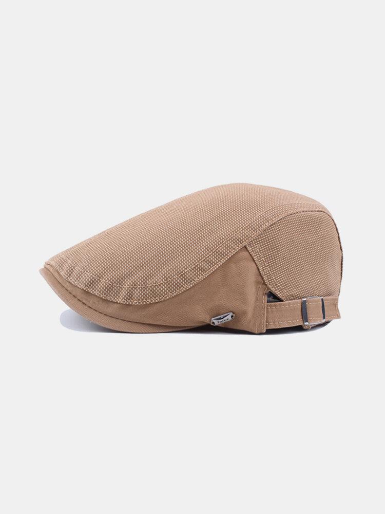 Men Cotton Solid Color Sunshade Beret Cap Duck Hat Casual Outdoors Peaked Forward Cap Adjustable Hat