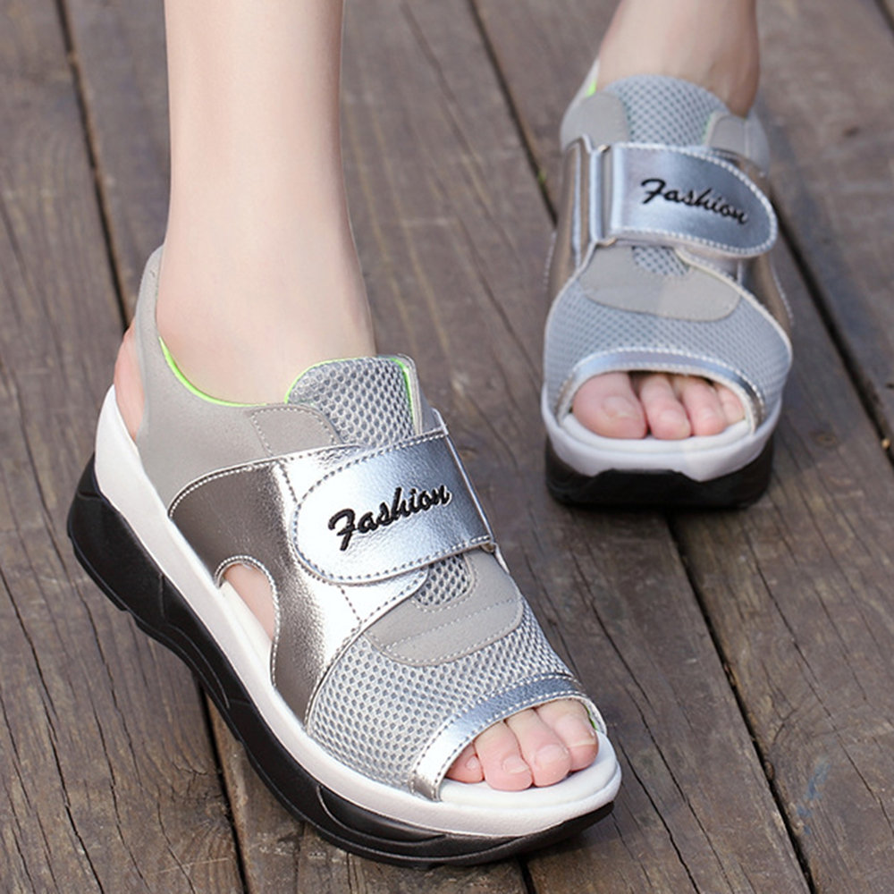 Casual Peep Platform Loop Hook Sports Sandals Splicing Toe Mesh Women SVGpqUMz