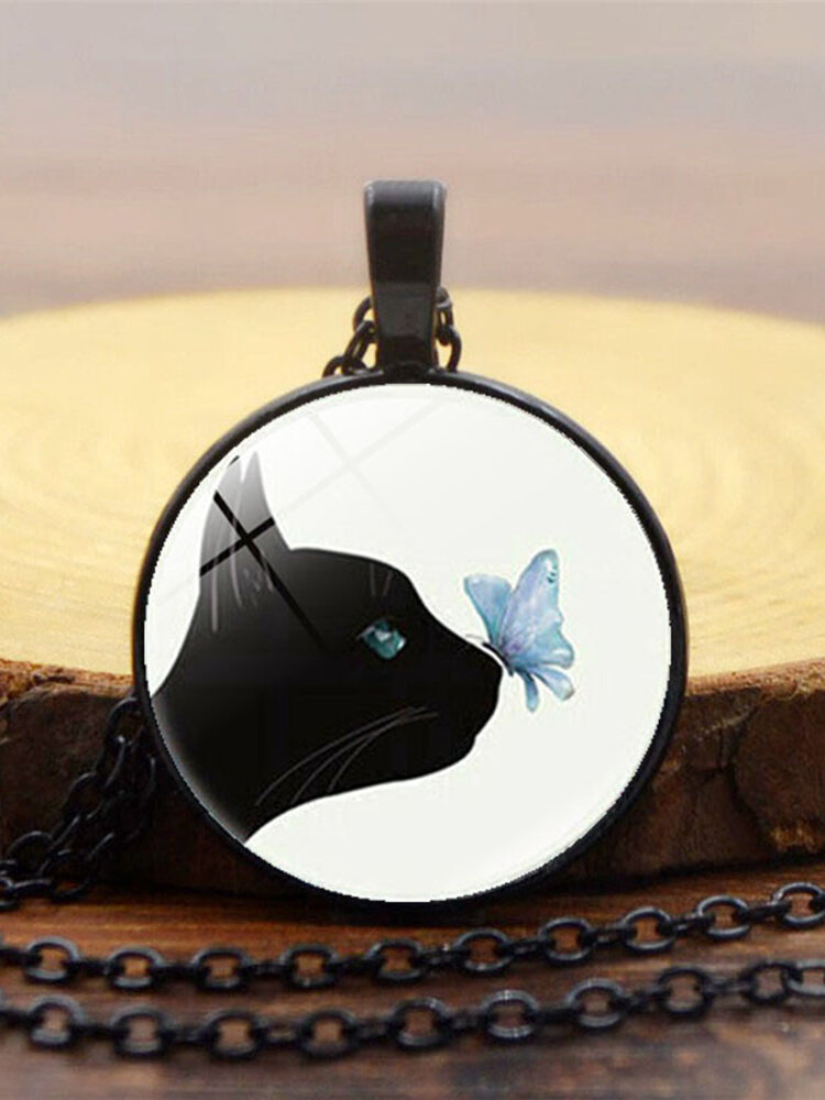 Vintage Glass Printed Women Necklace Black Cat Kiss Butterfly Pendant Necklace Jewelry Gift