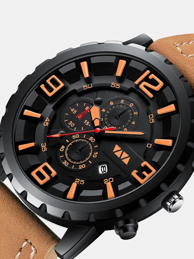 Large Dial Men Business Watch Decorated Pointer Waterproof Sports Quartz Watch