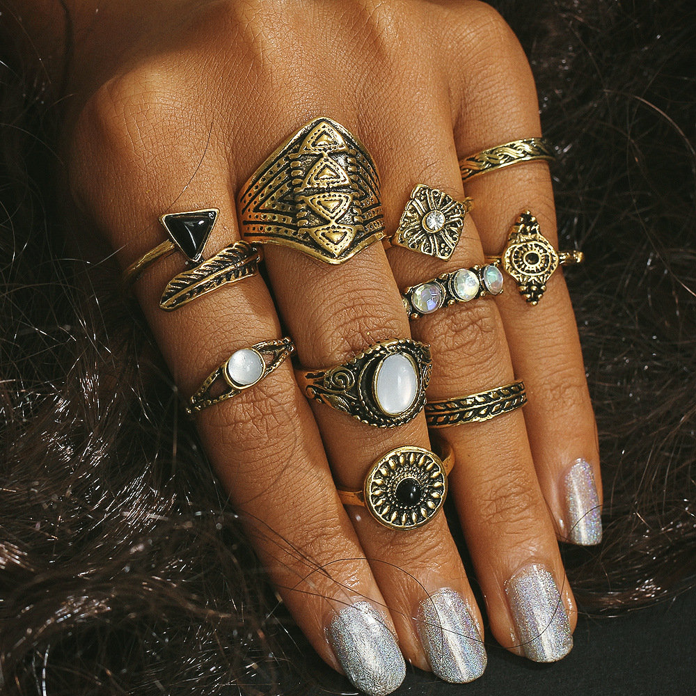 10 Pcs Bohemian Statement Ring Set Vintage Rhinestones Gem Casual Knuckle Rings Gift for Women