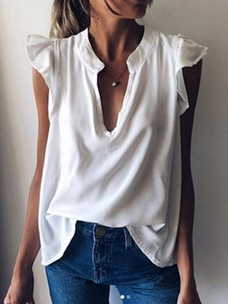 Solid Color Sleeveless V-neck Casual Blouse For Women