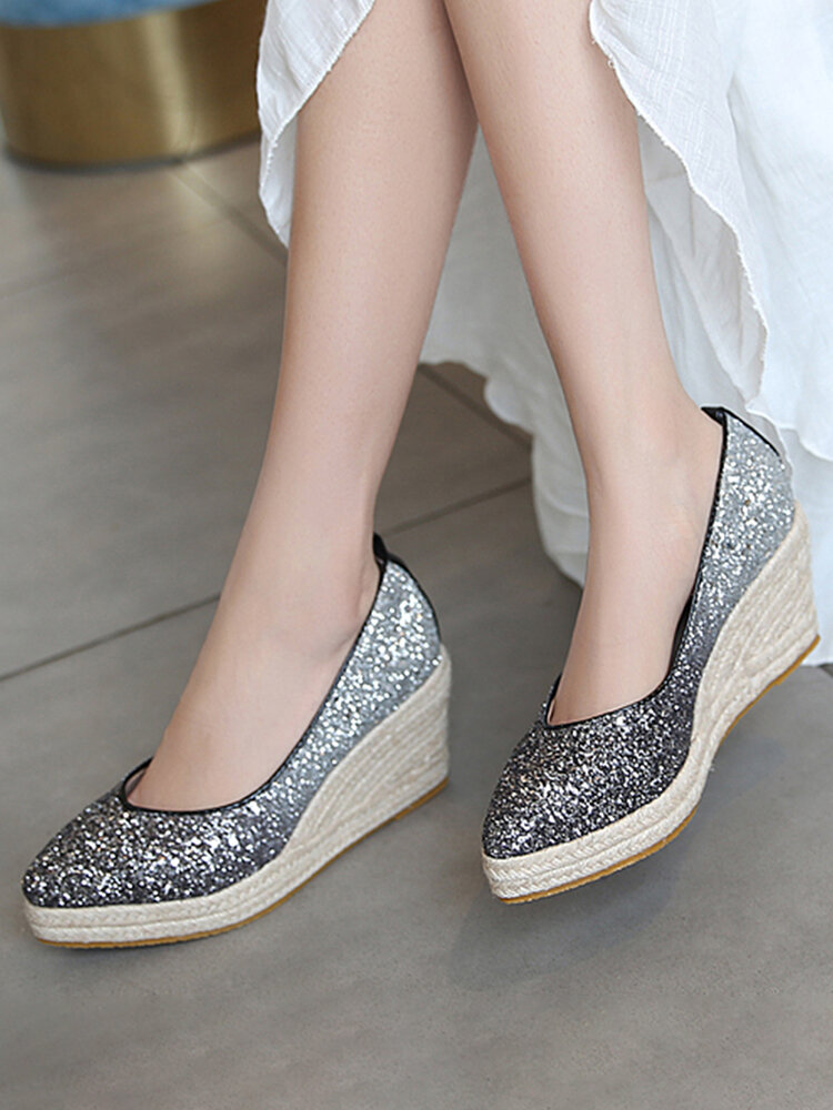 Women Casual Ombre Sequined Slip-On Pointed Toe Wedges Heel Espadrille Loafers Shoes