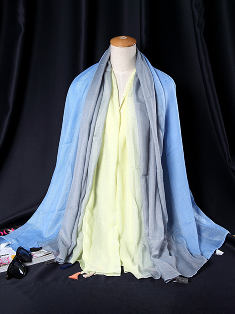 Women Cotton Gradient Mixed Colors Multicolored Scarf Long Fringed Shawl