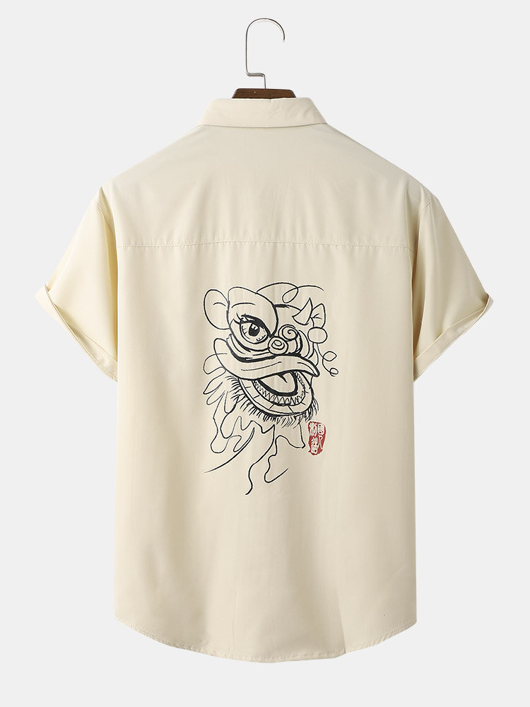 Mens Chinese Style Lion Back Graphic Chest Pocket Short Sleeve Shirts