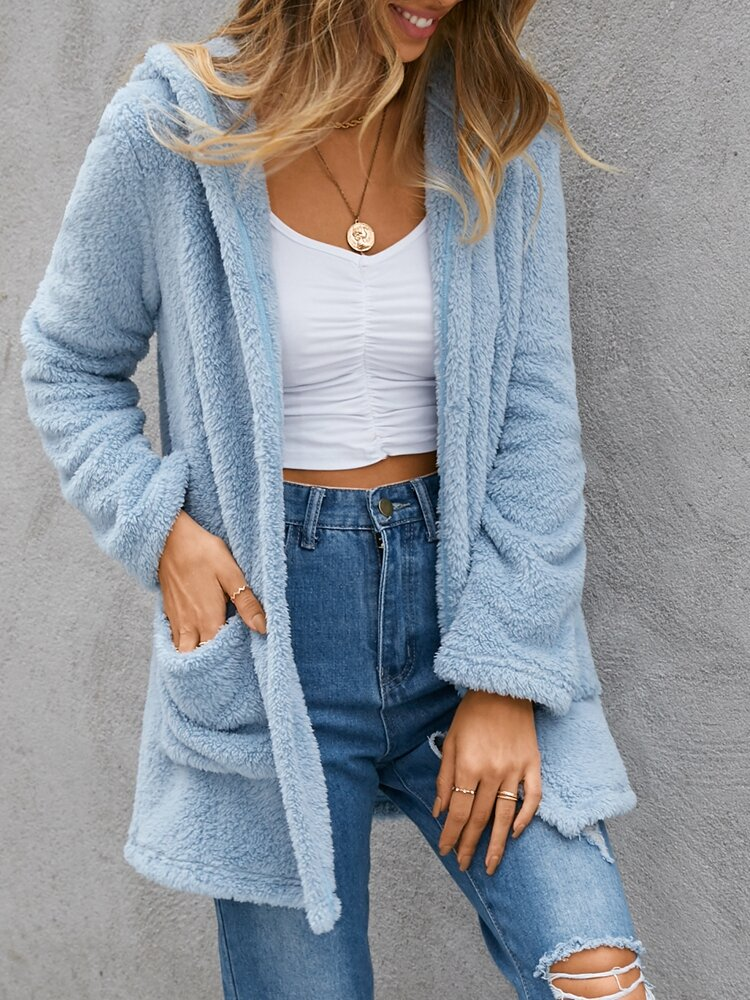 Solid Color Pocket Hooded Plush Casual Cardigan For Women