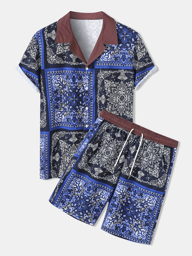 Mens Baroque Print Colorblock Revere Collar Two Piece Outfits