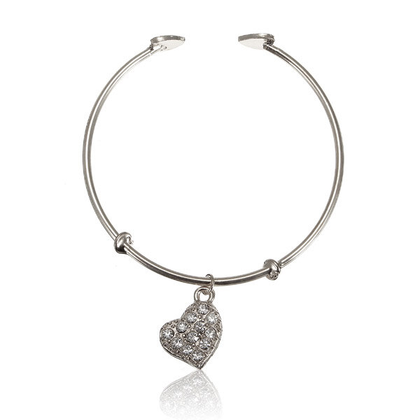 Crystal Heart Pendant Open Bangle Alloy Bracelet