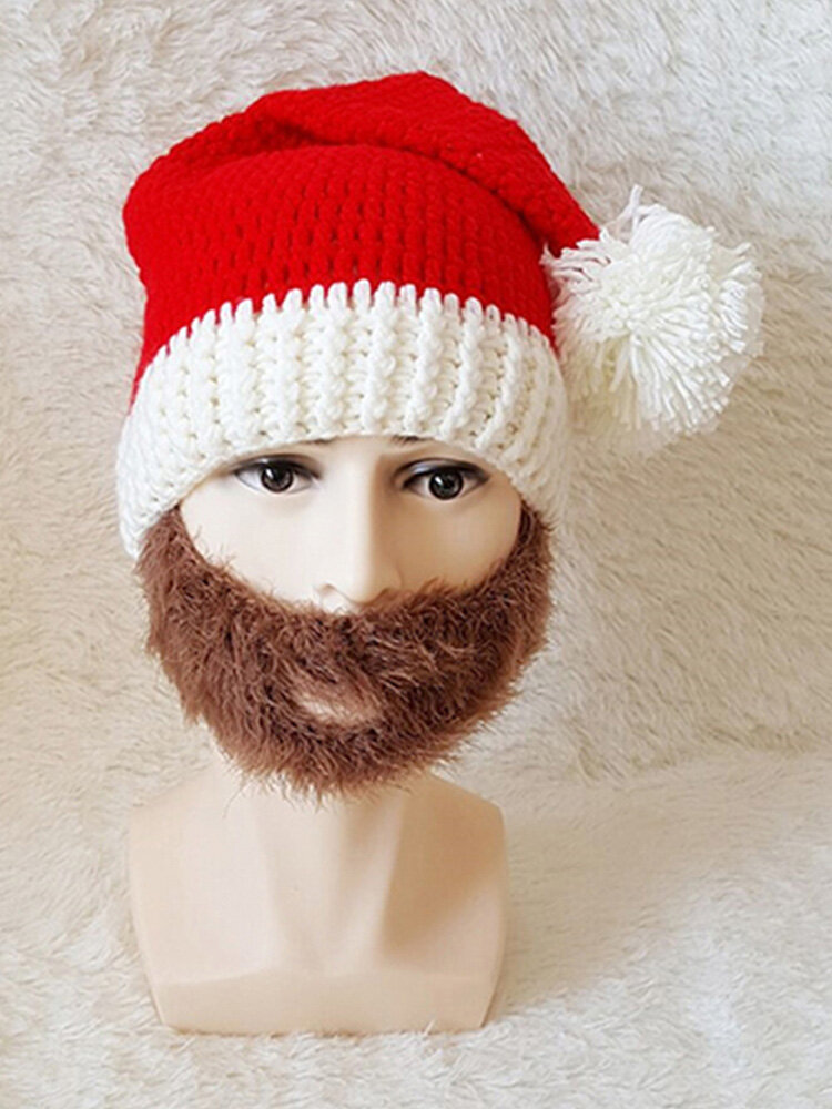 Men Women Winter knitted Santa Claus Beanie Hats Skull Face Mask Beard Hat For Christmas Gift