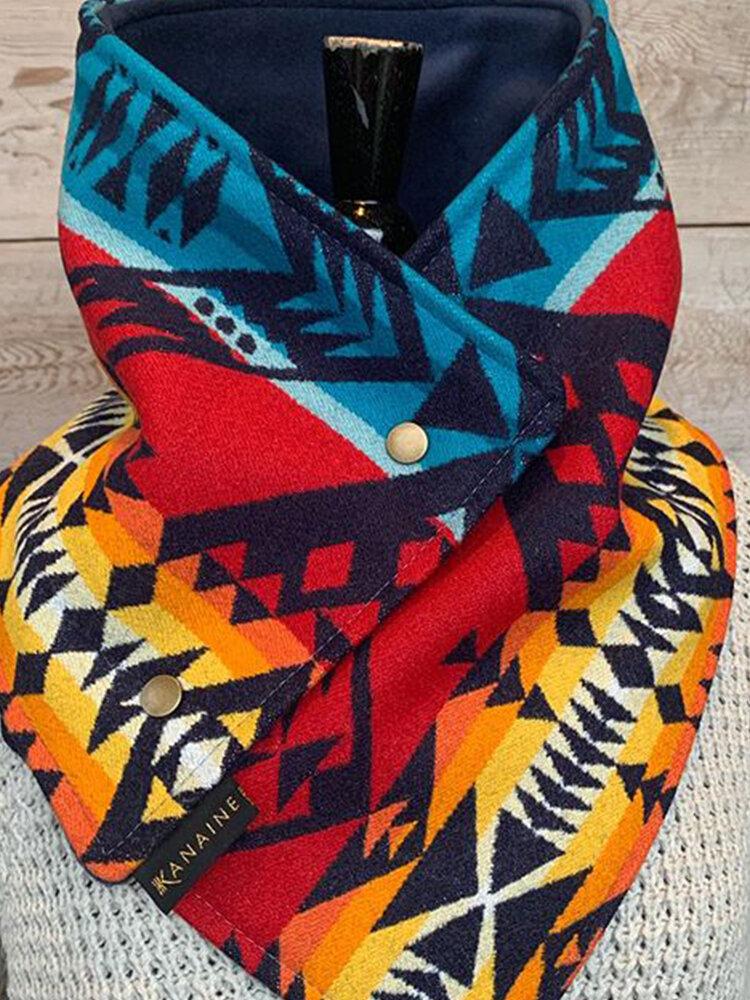 Women Thick Geometric Pattern Printed Scarf Elegant Adjustable Neck Wrap Warm Scarf