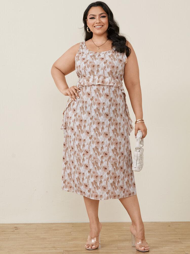 Floral Print Ruffled O-neck Sleeveless Pocket Plus Size Casual Dress