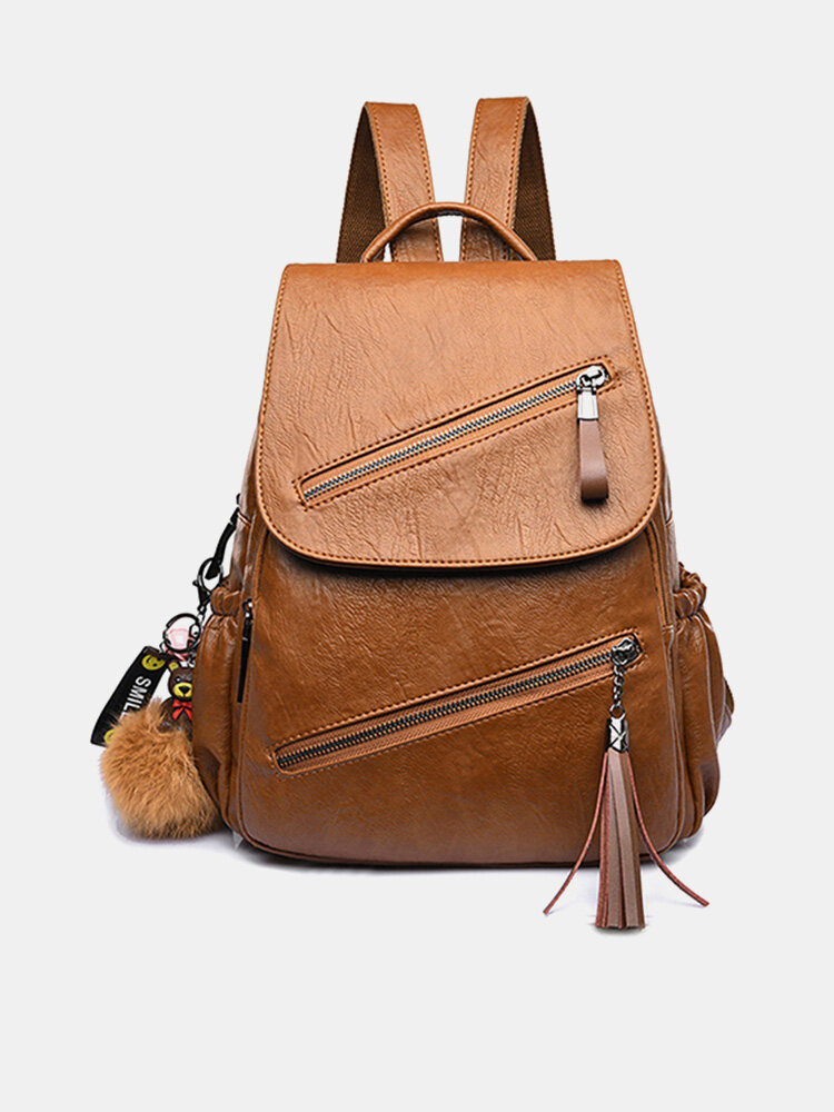 Women Solid Bag Casual Flap Backpack