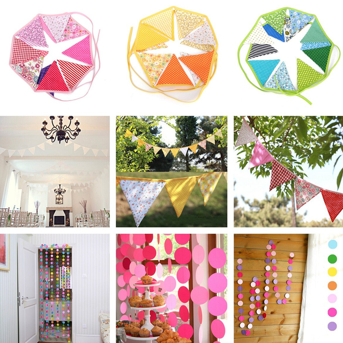 Lovely Handmade Fabric Flags Buntings Pennants Wedding Birthday Party Decoration Flag Bunting