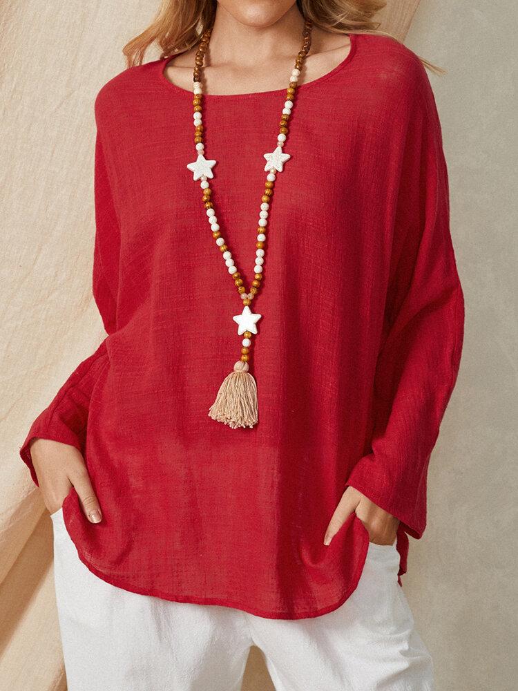Однотонная однотонная повседневная простая повседневная хлопковая свободная блузка с круглым вырезом и длинным рукавом