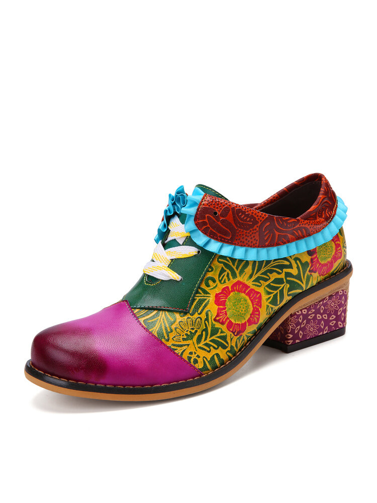 Socofy Retro Bohemian Floral Print Patchwork Genuine Leather Lapel Chunky Heel Brogue Shoes Lace Up Loafers