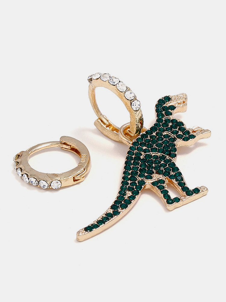 Classic Gold Green Rhinestones Dinosaur Dangle Earrings Fashion Asymmetry Earrings for Women Gifts