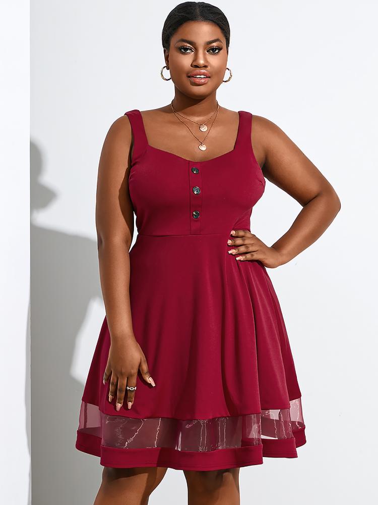 Mesh Patchwork Sleeveless Button Plus Size Dress for Women