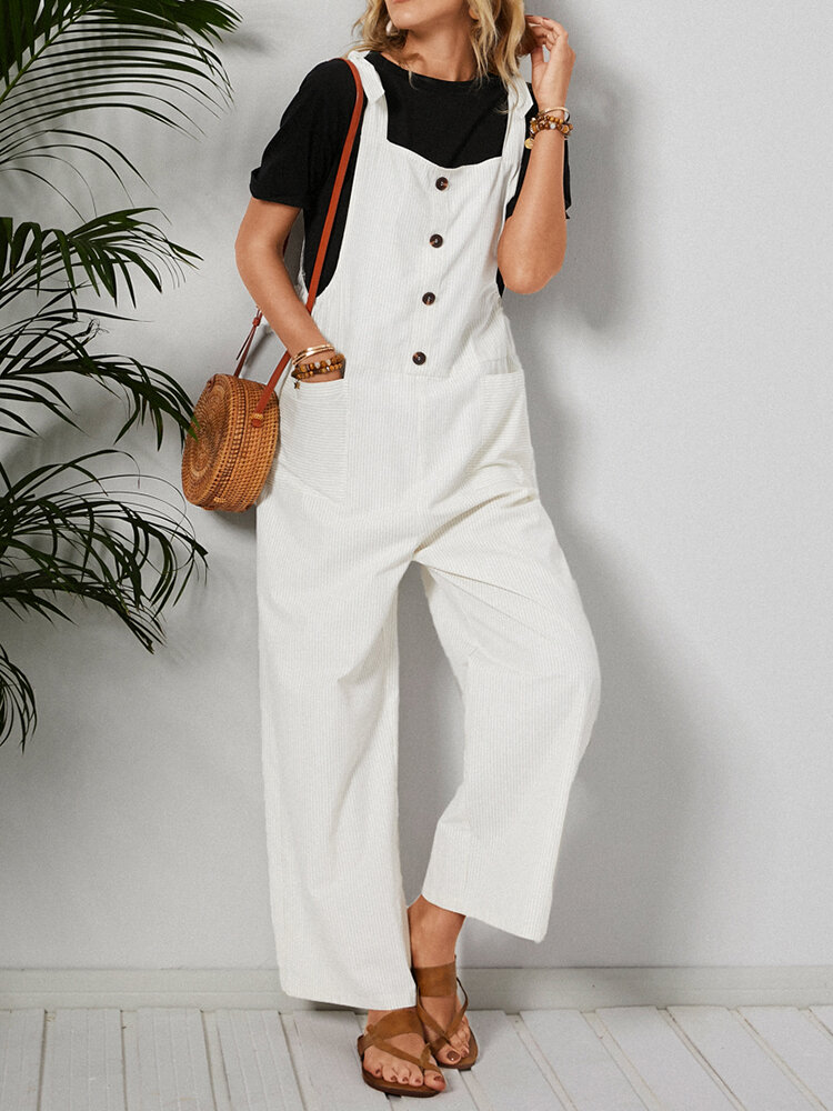 Stripe Print Button Pockets Knotted Casual Jumpsuit For Women