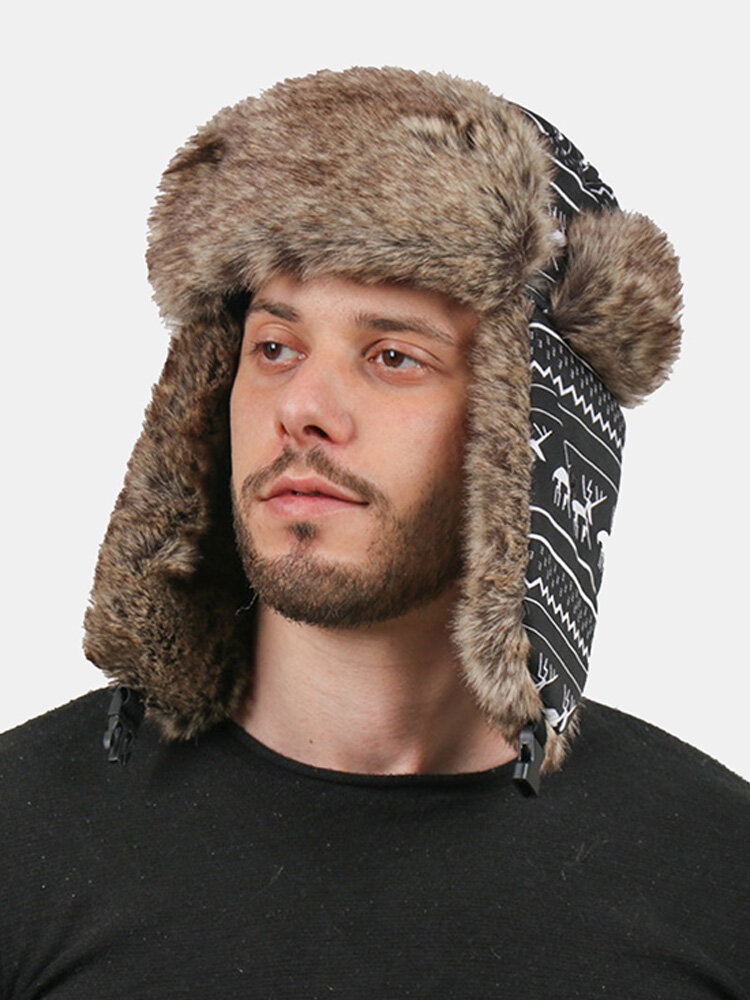 Men Artificial Fur Dacron Christmas Elk Striped Pattern Outdoor Windproof Ear Protection Thicken Warmth Trapper Hat