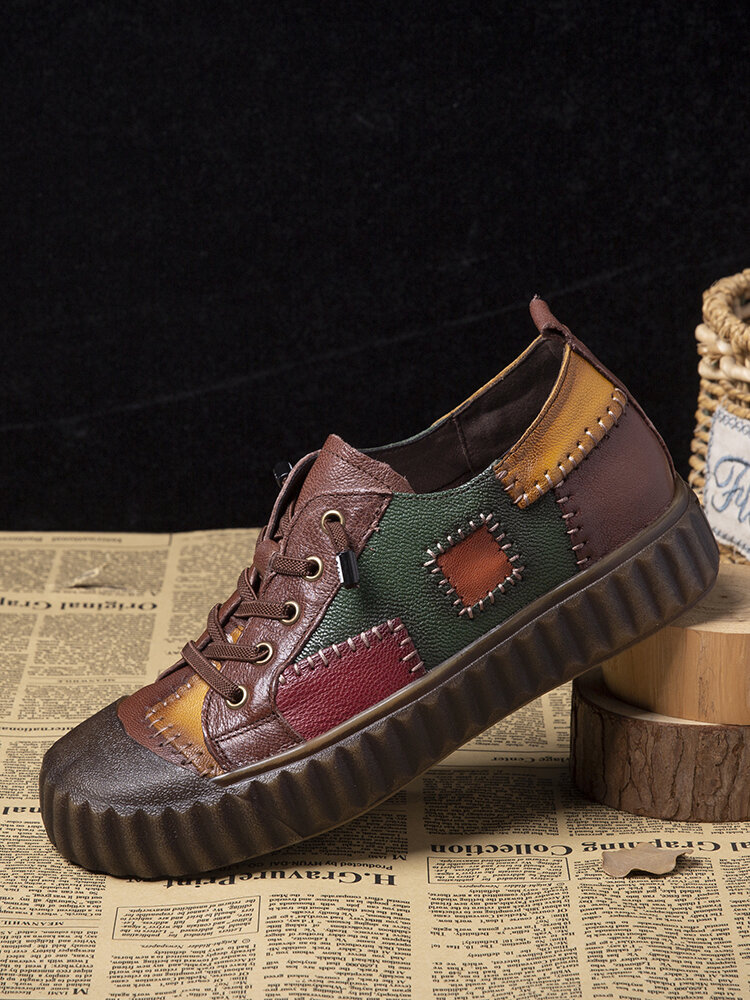 Socofy Retro Genuine Leather Patch Skate Sneakers Color Block Soft Walking Shoes For Easter Gifts